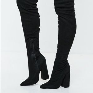 Thigh high black faux suede boots